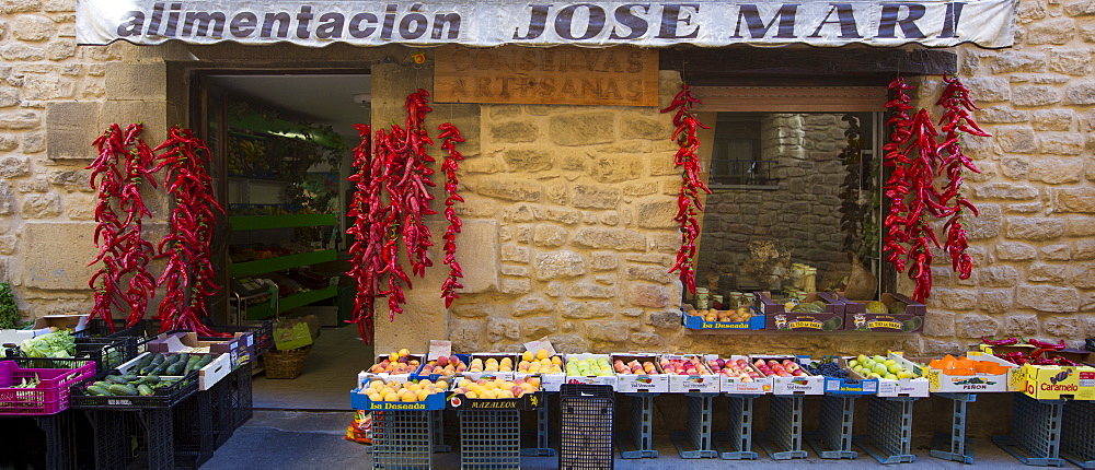 Food shop for groceries and artisan foods, Alimentacion Jose Mari, in Laguardia, Rioja-Alavesa, Basque country, Spain