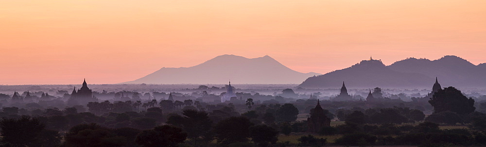 Panoramic view at sunrise of temples, pagodas and stupas in early morning mist, Bagan (Pagan), Myanmar (Burma), Asia - 1170-130