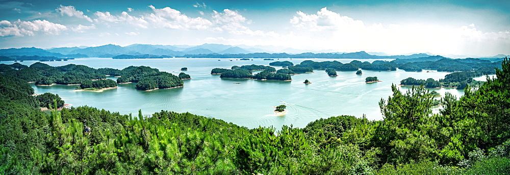 A panoramic view on the islands of Qiandaohu (Thousand Islands) Lake, Chunan, Zhejiang, China, Asia - 1171-253