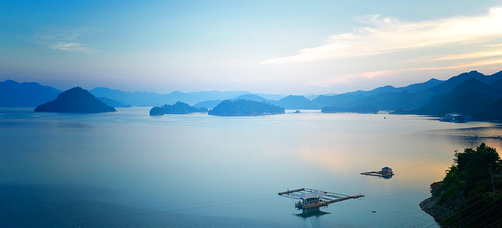 A calm view of southeast Qiandao Lake in Zhejiang province at dusk, Zhejiang, China, Asia - 1171-269