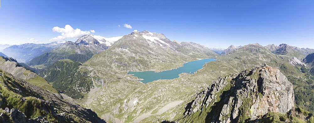 Panorama of the blue Lago Bianco surrounded by high peaks, Bernina Pass, Canton of Graubunden, Engadine, Swiss Alps, Switzerland, Europe