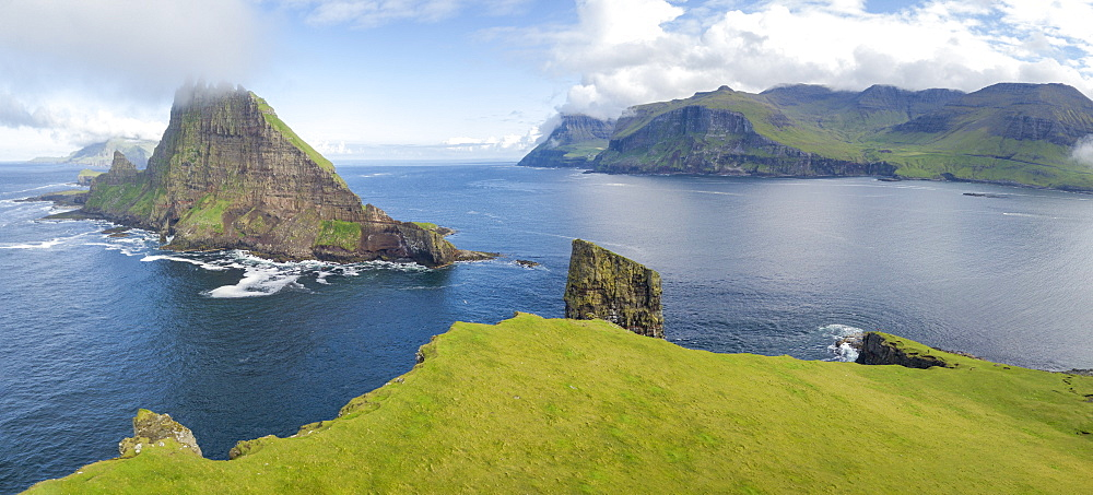 Panoramic of Drangarnir and Tindholmur islet, Vagar Island, Faroe Islands, Denmark, Europe (Drone) - 1179-2793