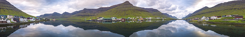 Panoramic of Hvannasund on Vidoy Island and Norddepil on Bordoy Island, Faroe Islands, Denmark, Europe (Drone) - 1179-2930