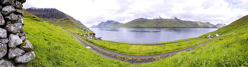 Panoramic of Kunoy Island, Nordoyar, Faroe Islands, Denmark, Europe