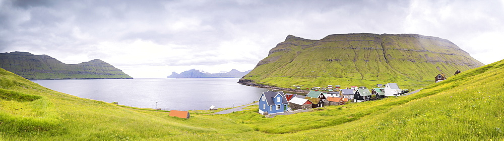 Panoramic of Elduvik, Eysturoy Island, Faroe Islands, Denmark, Europe