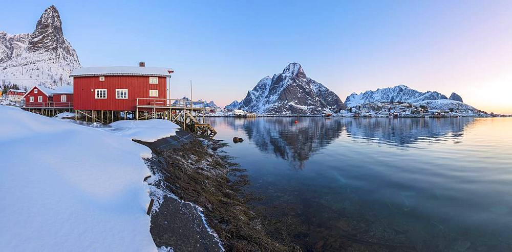 Panoramic of Reine Bay at sunrise, Lofoten Islands, Nordland, Norway, Europe
