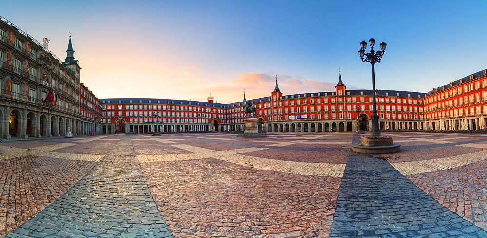 Panoramic of Plaza Mayor at sunrise, Madrid, Spain, Europe
