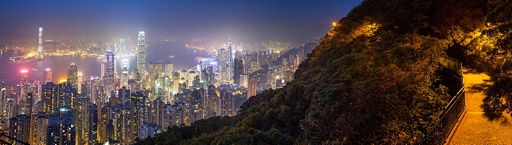 Hong Kong from the Peak at night, Hong Kong, China, Asia