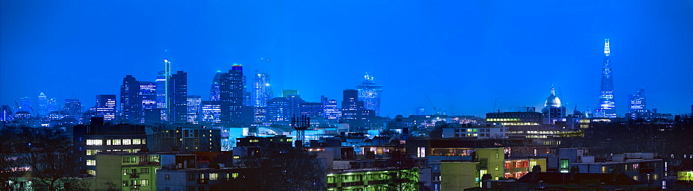 City of London financial district and residential flats from Kings Cross, London, England, United Kingdom, Europe