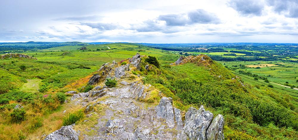 France, Brittany, Finistere, Plouneour-Menez. View from Roc'h Trevezel in the Monts d'Arree, Parc naturel regional d'Armorique.