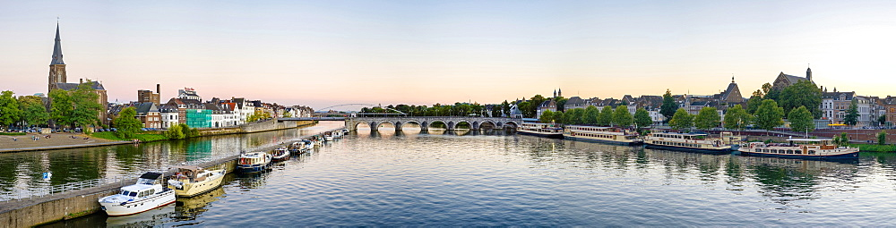Netherlands, Limburg, Maastricht. Panoramic view of the Meuse (Maas) River.