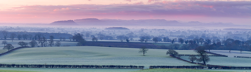 Panoramic view of Beeston Castle and the Peckforton Hills on a frosty winter morning over the Cheshire plain, Cheshire, England, United Kingdom, Europe - 1219-121