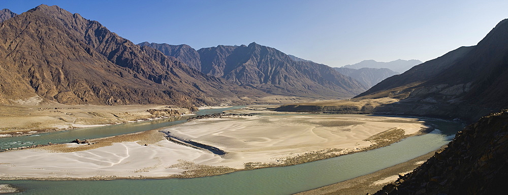 The Indus River seen from the Karakoram highway, Gilgit, Pakistan, Asia