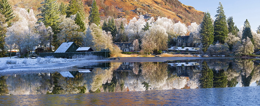 Loch Ard partially frozen over and a hoar frost around Aberfoyle in the Loch Lomond and the Trossachs National Park in mid-winter, Scotland, United Kingdom, Europe - 1228-176