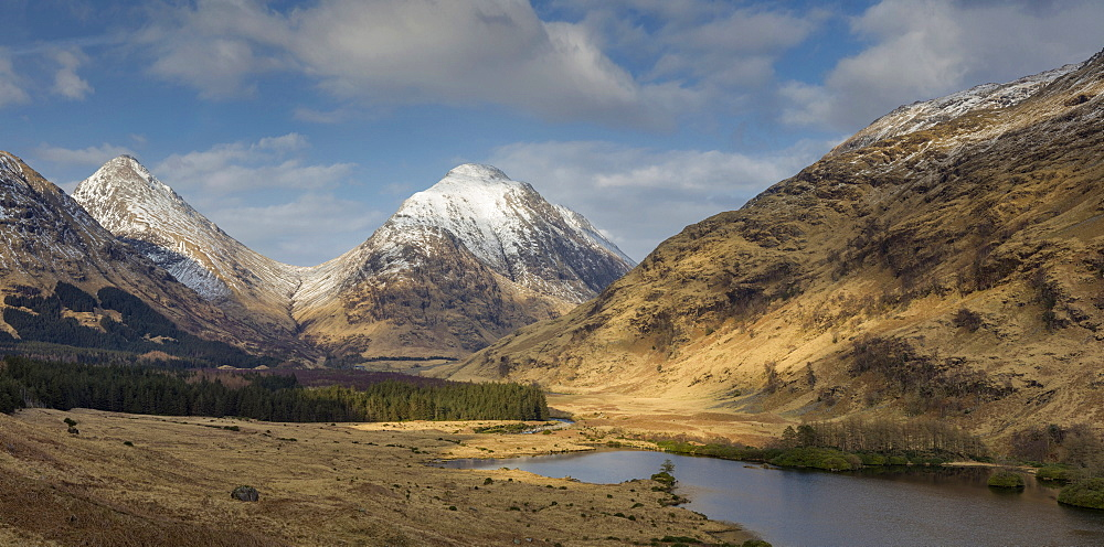 Glen Etive and Buachaille Etive Mor panorama, Highlands, Scotland, United Kingdom, Europe - 1228-69