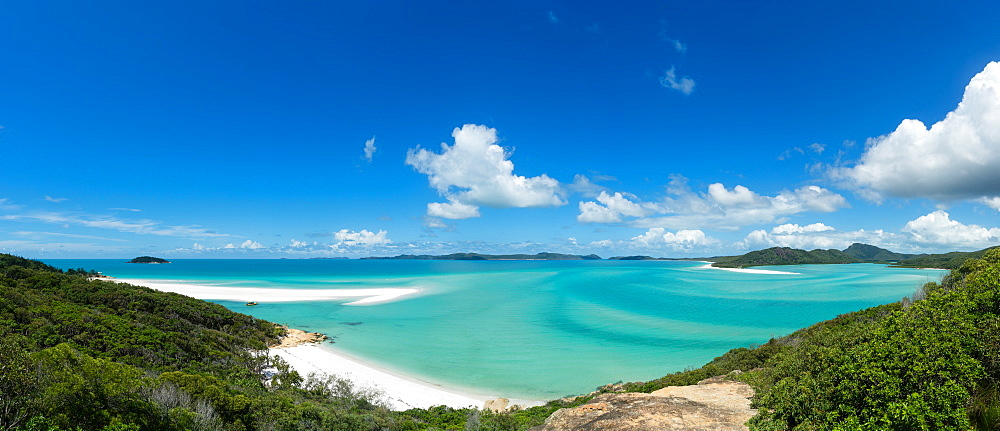 A panoramic view of the world-famous Whitehaven Beach on Whitsunday Island, Queensland, Australia, Pacific