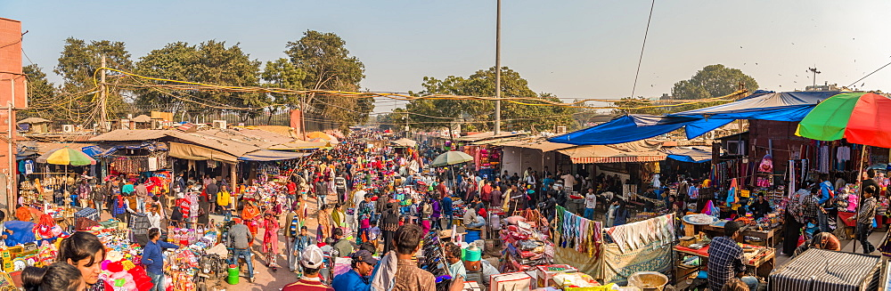Panorama image of the market outside the Jama Masjid, New Delhi, India, Asia