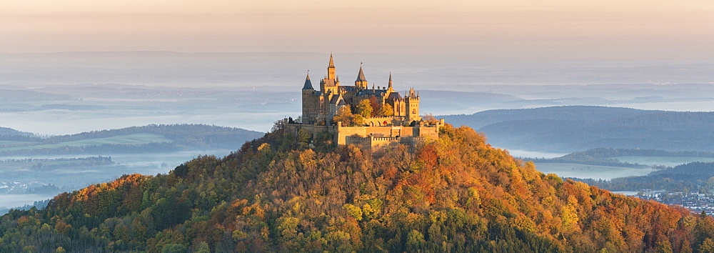 Hohenzollern castle in autumnal scenery at dawn. Hechingen, Baden-Württemberg, Germany. - 1251-425