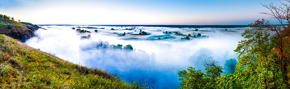 Misty dawn over hills and river, Ukraine, Europe - 1252-1