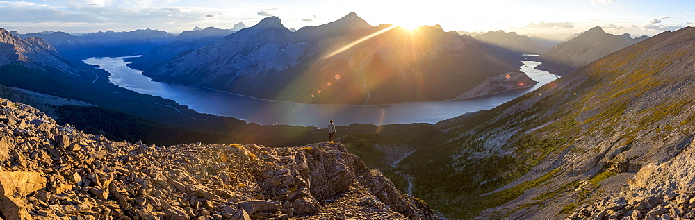 Epic panorama view of Spray Lakes at sunset from mountain peak, Alberta, Canada, North America - 1258-6