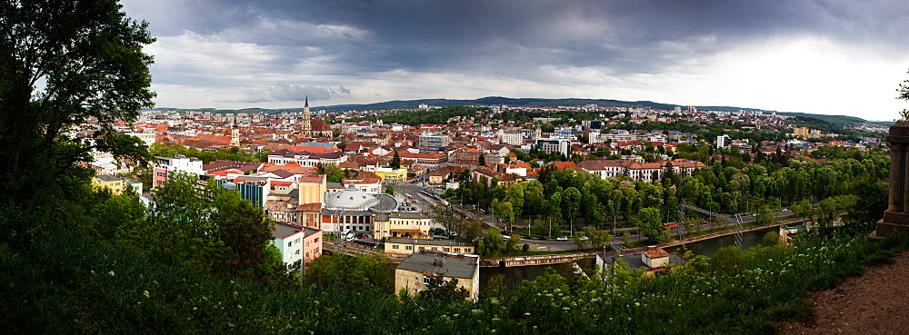 View over Cluj-Napoca from the Citadel Hill with Saint Michael's Church, Cluj-Napoca, Transylvania, Romania, Europe