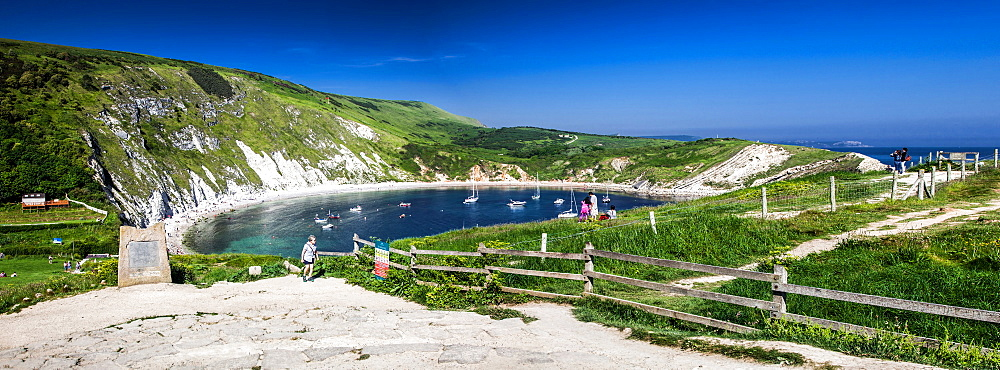 Panorama of Lulworth Cove on a hot summer day, Jurassic Coast, UNESCO World Heritage Site, Dorset, England, United Kingdom, Europe