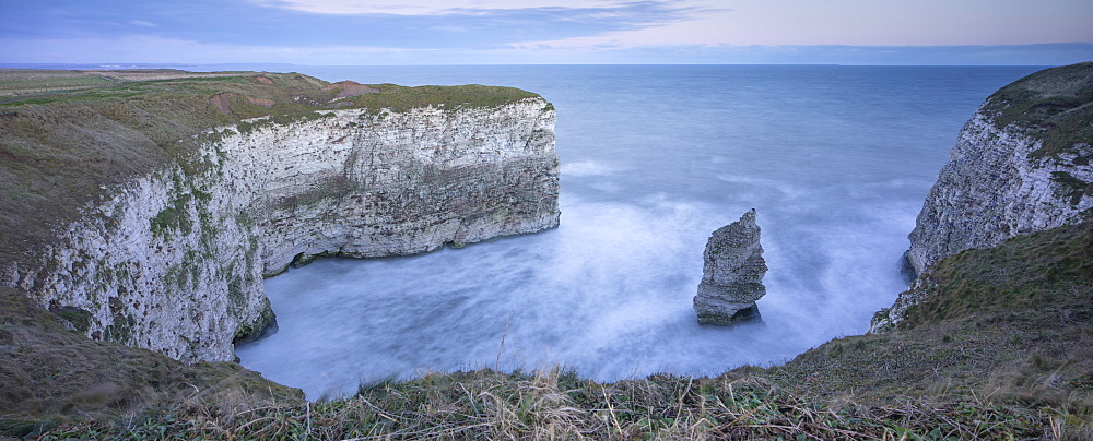 White Cliffs and small bay at sunrise in winter, Flamborough, East Yorkshire, Yorkshire, England, United Kingdom, Europe - 1266-125