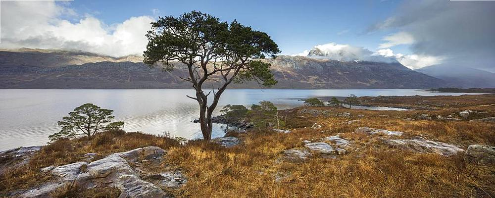 Stitched panoramic of Loch Maree and Slioch after a series of passing rain showers, Wester Ross, North West Highlands, Scotland, United Kingdom, Europe - 1266-143