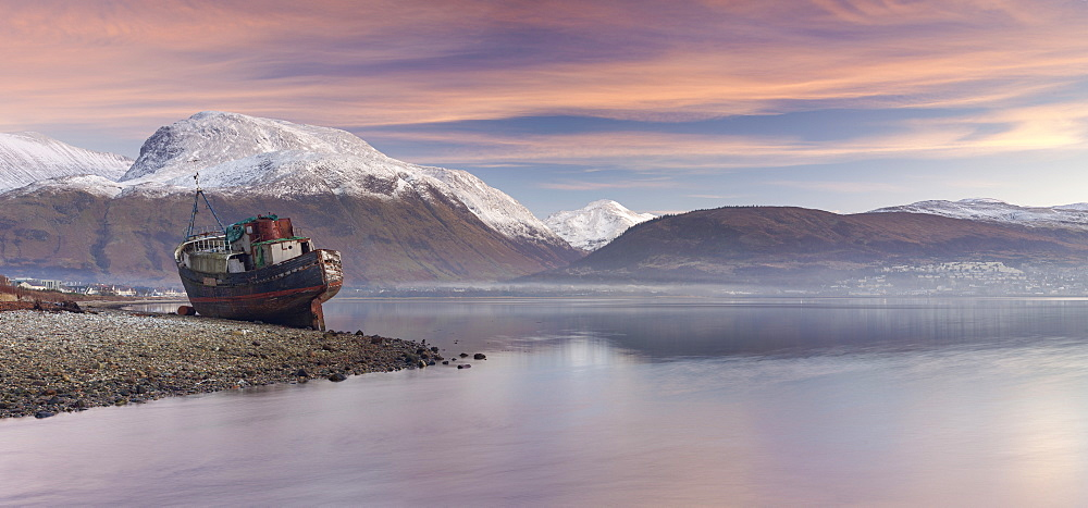 Beached fishing boat and view to a snow capped Ben Nevis from Loch Linnhe, Corpach, Highlands, Scotland, United Kingdom, Europe - 1266-89