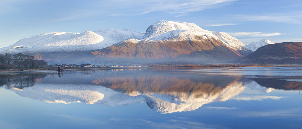 Snow capped Ben Nevis reflecting on the calm surface of Loch Linnhe at Corpach near Fort William, Highlands, Scotland, United Kingdom, Europe - 1266-93