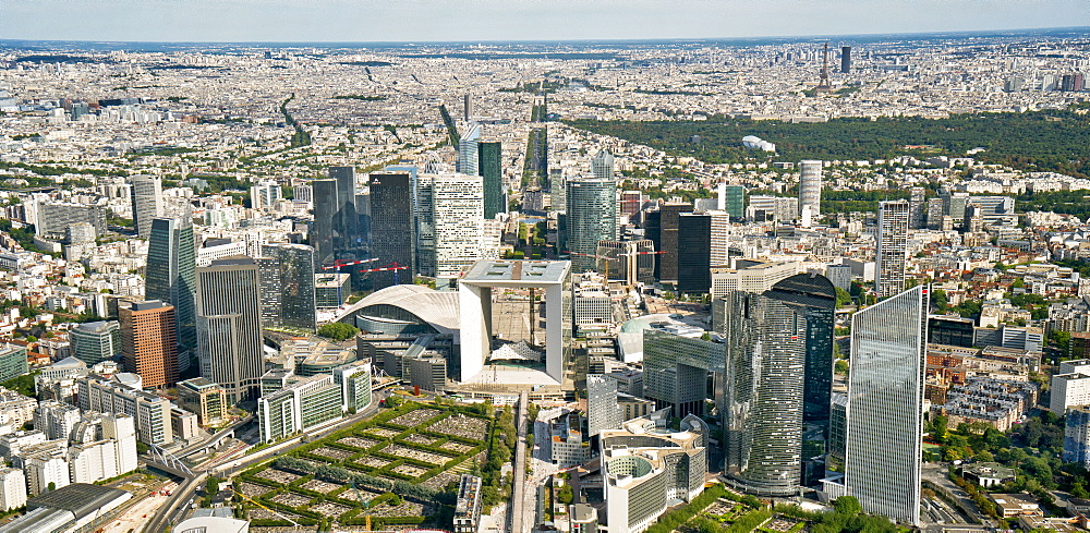 Aerial view of Financial District La Defense, Paris, France, Europe