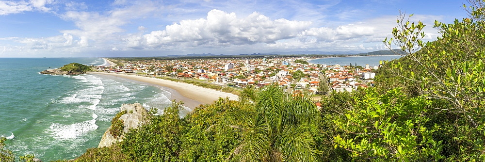 Elevated view over Saudade Beach, Sao Francisco do Sul, Santa Catarina, Brazil, South America