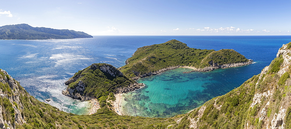 Panoramic view from a lookout over the Porto Timoni Double Bay, Afionas, Corfu, Greece, Europe