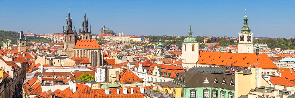 Panoramic view from the Powder Gate over the old town with the Prague Castle in the background, Prague, Bohemia, Czech Republic