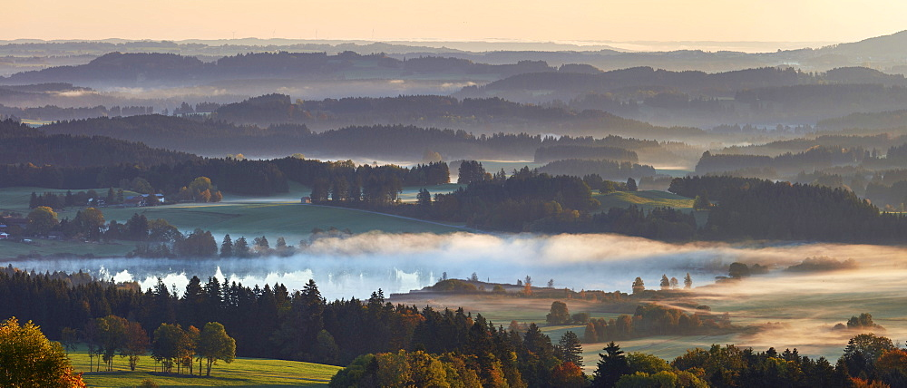 Morning autumn fog above lake Hassloch in the Allgau, seen from Auerbeg hill, Bavaria, Germany, Europe - 1294-71