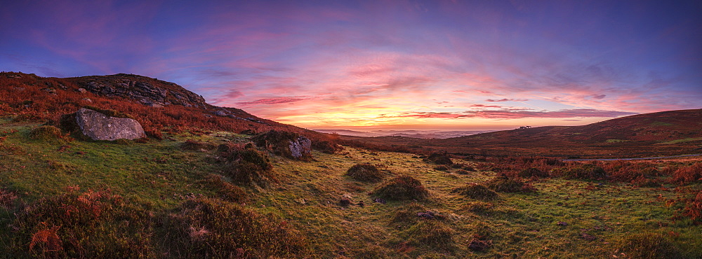 Twilight panorama of slopes below Saddle Tor with mist in the Teign Valley, Dartmoor National Park, Bovey Tracey, Devon, England, United Kingdom, Europe - 1295-100