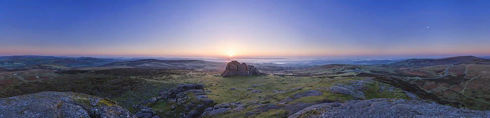 Panoramic view of Dartmoor National Park and mist in the Teign Valley seen from summit of Haytor, Bovey Tracey, Devon, England, United Kingdom, Europe - 1295-74