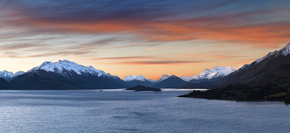 Lake Wakatipu at sunset, near Queenstown looking towards Glenorchy and Fiordland, Otago, South Island, New Zealand, Pacific