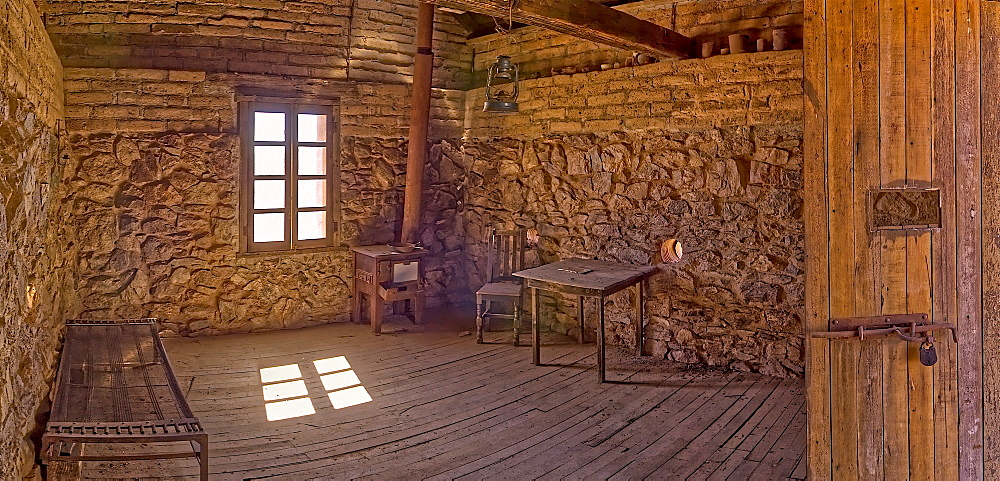 A panorama of the historic cabin of Henry Wickenburg, who founded the Arizona town with the same name in the late 1800s, Wickenburg, Arizona, United States of America, North America - 1311-109