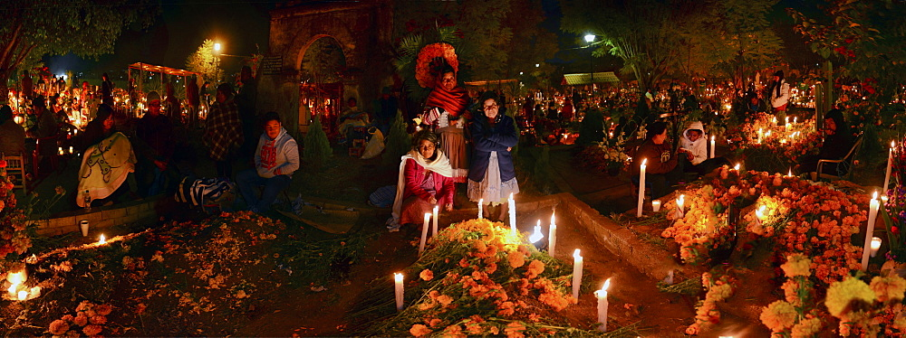 Panoramic view of the Atzompa graveyard during the celebration of Day of the Dead, Atzompa, Oaxaca, Mexico, North America