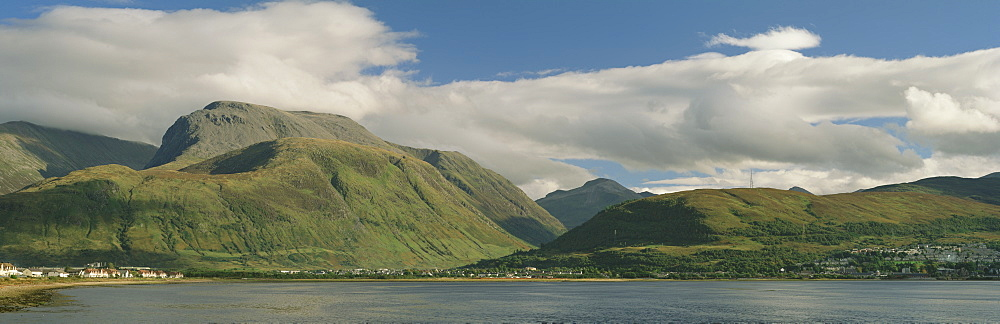 View from Corpach across Loch Eil towards Ben Nevis and Fort William, Highland region, Scotland, United Kingdom, Europe