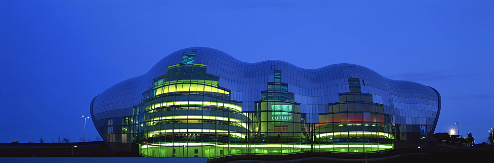 Sage Music Hall at night, Quayside, Newcastle upon Tyne, Tyne and Wear, England, United Kingdom, Europe
