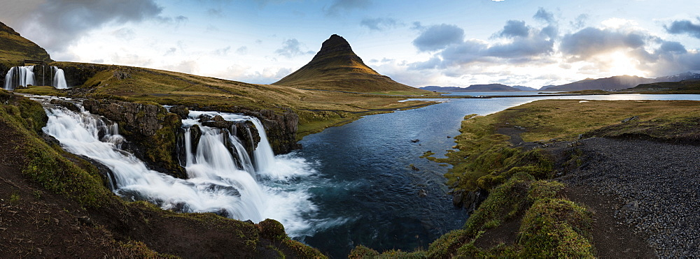 Panoramic view of Kirkjufell (Church Mountain) and mountain stream, Grundafjordur, Snaefellsnes Peninsula, Iceland, Polar Regions