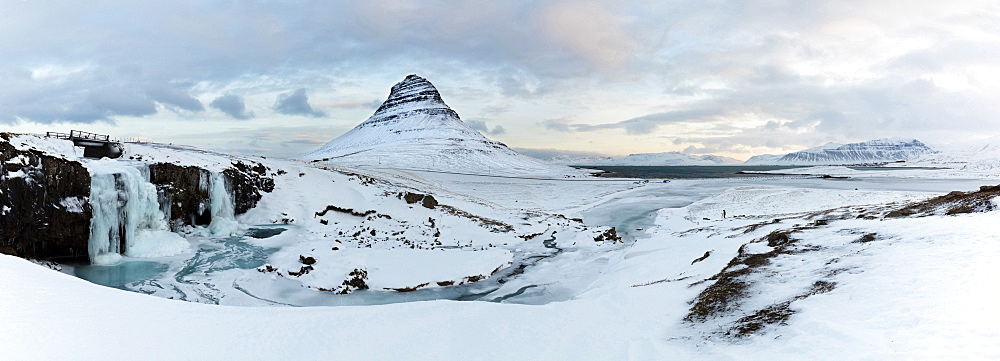 Panoramic winter view of Kirkjufell (Church Mountain), Grundafjordur, Snaefellsnes Peninsula, Iceland, Polar Regions