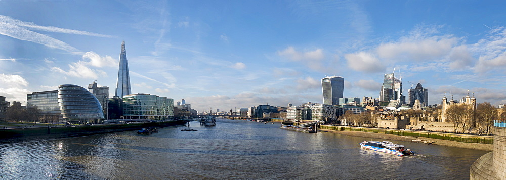 City of London and Shard Tower panorama from Tower Bridge, London, England, United Kingdom, Europe - 367-6162