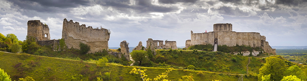 Chateau Gaillard panorama, Les Andelys, Eure, Normandy, France, Europe - 367-6297