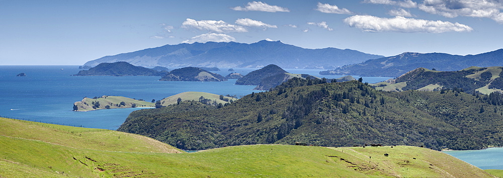 Looking north from lookout, South of Manaia, State Highway 25, Coromandel Harbour, Coromandel Peninsula, North Island, New Zealand, Pacific - 385-1703