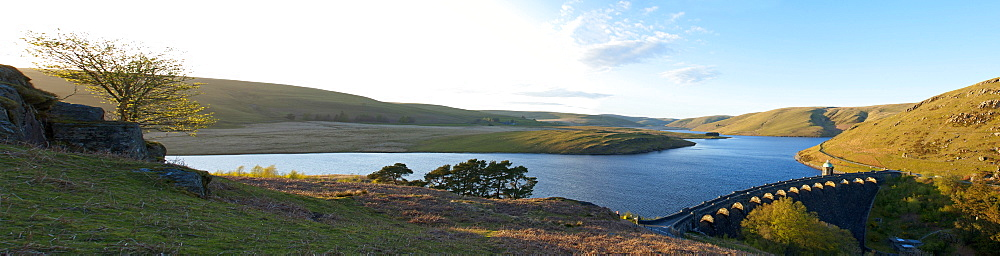 A panoramic view of Craig Goch reservoir, Elan Valley, Cambrian Mountains, Powys, Wales, United Kingdom, Europe