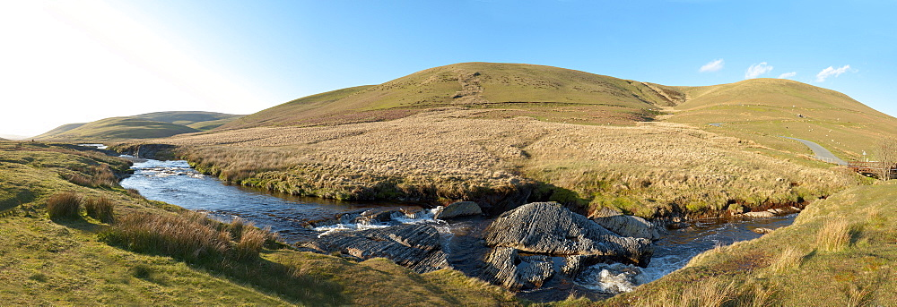 Panoramic landscape view at Elan Valley, Cambrian Mountains, Powys, Wales, United Kingdom, Europe - 663-773