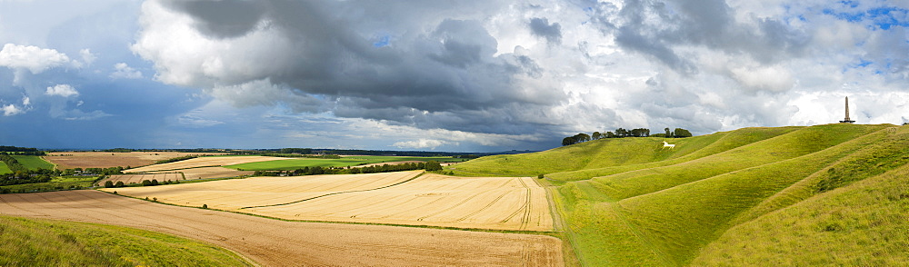 Panoramic landscape view of The Cherhill Downs, Wiltshire, England, United Kingdom, Europe - 663-782